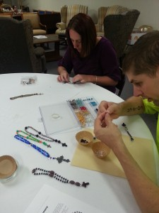 It takes some concentration to make these sets of beads.